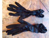 Black satin long vintage evening gloves