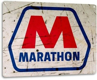 Marathon Gasoline Gas Dealer Oil Garage Retro Vintage Wall Decor Metal Tin Sign