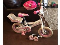 "12"" Kitty bike with helmet and stabilisers"