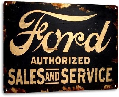 - Ford Sales Service Parts Dealer Retro Oval Logo Garage Wall Decor Metal Tin Sign