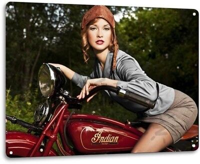 Indian Motorcycle Retro Vintage Dealer Bike Wall Garage Decor Metal Tin Sign New