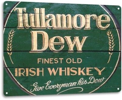 Tullamore Dew Irish Whiskey Logo Retro Wall Decor Bar Man Cave Metal Tin Sign