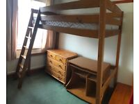 Pine High Sleeper single bed