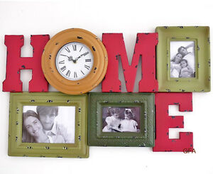 shabby chic photo frames wall clock rustic finish paint