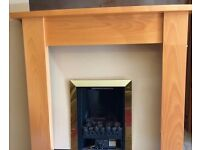 Beech mantel & marble gas fireplace suite