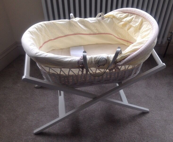 Mamas and papas Moses basket and stand in whirligig
