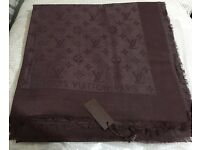 Louis Vuitton scarf shawl pashmina coffee 140x140cm