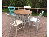 Shabby Chic Country Kitchen Dining Table and 4 Chairs