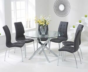 Elegance glass 120 cm round table and 4 grey dining chairs for 120 round table seats how many