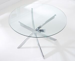 Glass Round Dining Table + 4 Leather White Chairs