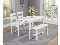 Chiltern white dining table with bench and four chairs - brand new