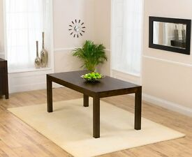 Dark Oak Extending Dining Room Table & 6 Faux Leather Chairs with Matching Sideboard