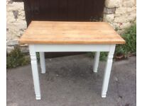 Vintage Pine Table with Painted Legs