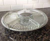 Vintage Lazy Susan Serving Tray ~ Chrome and Glass