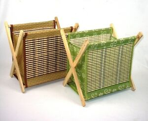 MAGAZINE RACK FOLDING - FABRIC & WOOD IN BROWN OR GREEN