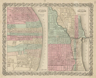 St Louis, Missouri & Chicago, Illinois antique city plans. COLTON 1863 old map