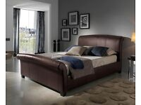 King size leather bed with John Lewis mattress