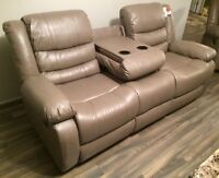 New 3pce Stone reclining drop table sofa, love, and chair $1800