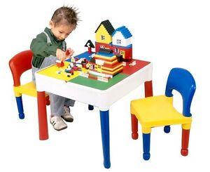 Childrens Activity Table and 2 Chairs - LEGO/DUPLO BOARD, WATER, SAND & DRAWING