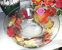 1950's See-through glass bowl w/faux leaves