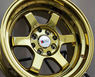 F1R F05 15x8 4x100/114.3 Et0 Gold Chrome Wheels Fits Del So Civic Celica Fox Crx