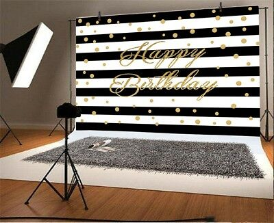 Birthday Black Stripes Glitter Dot 7X5ft Photography Vinyl Backgrounds Backdrops