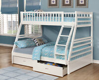 Free Delivery! Twin/Full Bunk Bed with Storage Drawers, NEW!