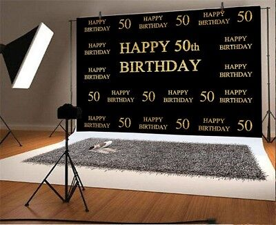 50th Birthday Gold Letter Black 7x5ft Party Background Photography Backdrop Prop