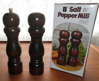"""8"""" Solid Hardwood Salt & Pepper Mill Set"""