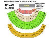 2 x BRYAN ADAMS TICKETS , LEEDS DIRECT ARENA 2018, FLOOR SEATS (PRICE IS FOR BOTH SEATS)