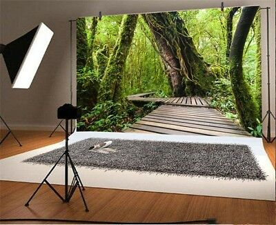 7x5ft Jungle Forest Old Tree Wood Bridge Photography Backgrounds Backdrops Props