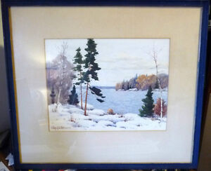 "Original Watercolor by William Blackwood, ""Winter Study"" 1930"