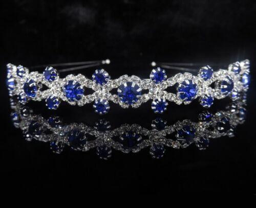 Bridal Heart Crown Head Tiara Blue Crystal Hair Pageant Princess Queen Birthday