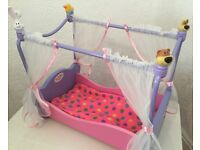 Immaculate Wooden Baby Born Four Poster Dolls Cot with Bedding. Free local delivery.