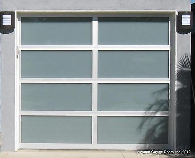 Full View Anodized [12' x 7'] Aluminum & White Laminate Glass Garage Door