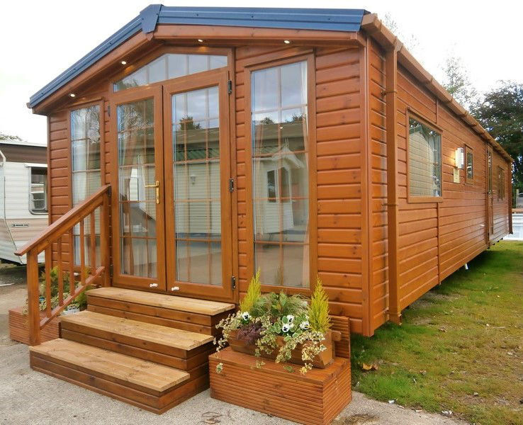 New sunrise log cabin 38x12 2 bed winterised granny annex for Granny cabins