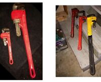 Lot of 5 cast iron pipe wrenches