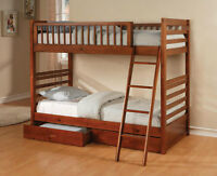 New! Twin/Twin Bunk Bed with Storage Drawers, Same Day Delivery!