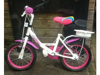 Child's girls bike pink and white good condition