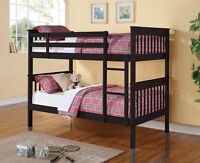Black Twin over Twin Bunk Bed!  FREE Shipping!