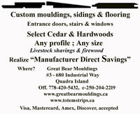 Custom mouldings, handrails,stairs, and cabinetry & sidings