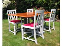 Upcycled Shabby Chic Drop Leaf Deco Kitchen Dining Table and 4 chairs