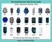 Duplicates of Fob Keys, Key Fobs, Key Cards - Condo, Apt