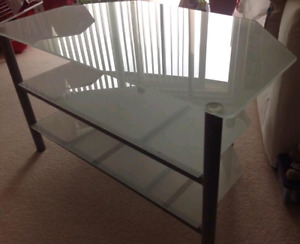 Glass ikea corner tv stand