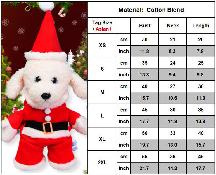 Christmas Pet Vest Dog Puppy Hoodie Sweater Jacket Cute Outfit Clothes Costume 7