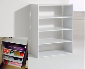 Shelving display cabinet organiser rack 4 shelves shoes clothes rack white