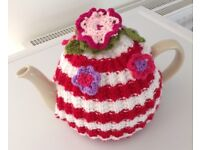FLOWER TEA COSY hand knitted. Pot cover wool made CHRISTMAS STOCKING FILLER red white