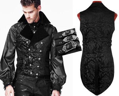 Jacquard Frack Weste Jacke Gothic Barock Dandy Anzug Riemen Mode PunkRave Herren