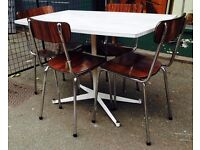 Retro/ Vintage Dining Table With Four Tavo Chairs
