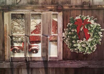 LPG Greetings Red Truck Outside Window Box of 12 Die Cut Farm Christmas -